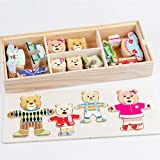 Cartoon Rabbit Change Clothes Wooden Toy Puzzles friendGG Educational Dress Changing Jigsaw toys