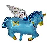 Prettyia Neuheit Große Folie Pferd Ballon Baby Dusche Taufe Party Kinder Birthday Party Spielzeug - Blau, 88 * 70cm