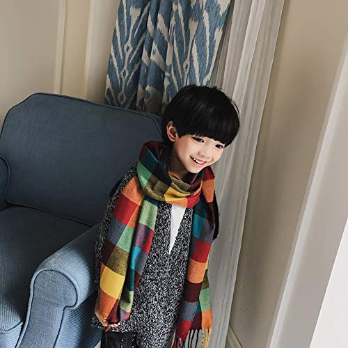 LMSHM Écharpe d'hiver pour Enfants in Autumn and Winter,The Children's Lattice Scarf and Scarf are Changing Their Shawls,Colourful Plaid,180Cm