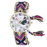 Vovotrade Femmes Patron Papillon Tricoté Bracelet Bande Tissée Montre Bracelet à Quartz (Bleu)