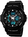 Kids Boys Childrens Girls Watches Sports Digital Analogue Alarm 50M Waterproof Dual Time Zone Multifunction Boy Watch Chronograph Calendar Date Timer Stopwatch Wrist Watch with Rubber Band