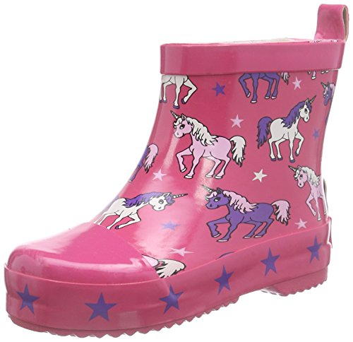 Playshoes Rubber Unicorn, Bottes mi-hautes sans doublure fille Rose - Rose