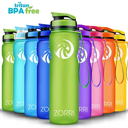 ZORRI Sport Trinkflasche auslaufsicher, BPA Frei & Umweltfreundlich Wasserflasche Für Kinder & Frauen, One Handed Open & Tritan, Für Gym/Outdoor/Camping - Grün - 1000ml (Tupperware 12 Stück)