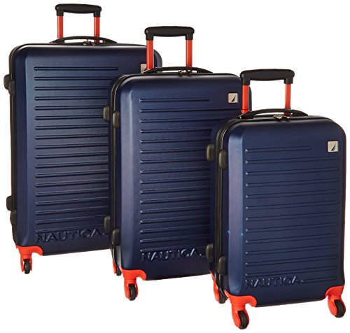 Nautica Tide Beach 3 Piece Hardside Spinner Luggage Set (28in/25in/21in), Classic Navy