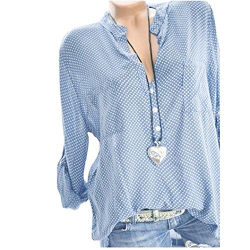 MORCHAN Femmes V-Neck Wave Point Impression Manches Longues, Plus la Taille des Hauts en Vrac Blouse(FR-44/CN-XL,Bleu Ciel)