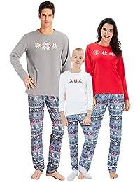 chicolife Familia Juego Pijamas Copo de Nieve Ciervos de la Navidad impresión Fija Ropa de Dormir Pijamas para Familia Hombres Mujeres niños