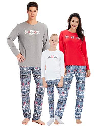 chicolife Familie passende Weihnachten Pyjamas Schneeflocke REH gedruckt Pjs Nachtwäsche-Sets für Familie Damen