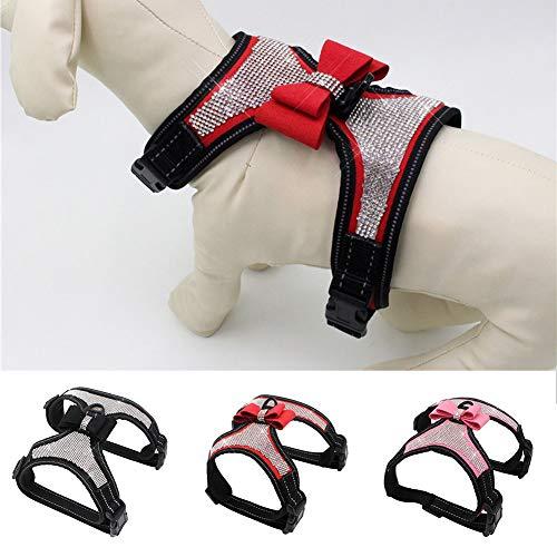 Lai-LYQ Hundegeschirr, reflektierend, mit Schleife und Strasssteinen, Größe XL, Rot (Kostüm Mit Bandanas Mädchen)
