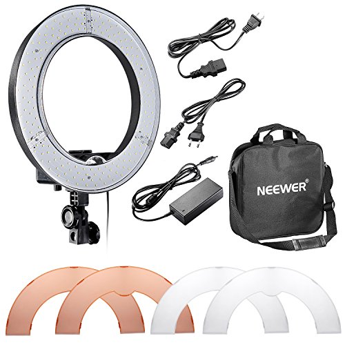 "Neewer Kamera-Foto / Video 14 \""/ 36cm Äußere 36W 180STK LED SMD-Ring-Licht 5500K Dimmbare Ring-Videoleuchte mit Kunststoff-Farbfilter -Set"