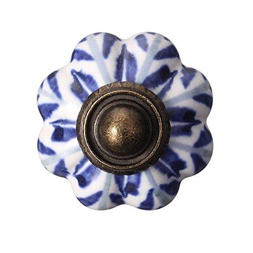 4 Tiradores de cerámica azul Mediterraneo pomos vintage para armario restauracion muebles comoda alacenas cajones de OPEN BUY
