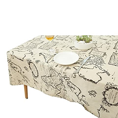 YUUVE Tablecloths Map Printed Rectangular Tablecloths Multi-function Dining-table Cloth Cotton Linen Cover Cloth Art