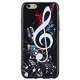 iPhone Hülle, Hozor Dünne Weiche TPU Silikon Handyhülle Schutztasche Back Cover Gemalt Geprägt Muster Schutzhülle Etui für Apple iPhone 6 / 6S, 4.7 zoll - Musik