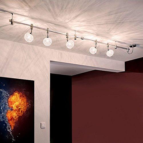 LED Schienensystem Schienenleuchte Deckenspot Strahler - 5-flammig -200cm Hochvolt - aus Metall G9 5x2.5W [Energieeffizientklasse A+]