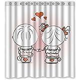 """'167cm x183cm (66""""x72) baño ducha cortina, Amarillo sveglio del cómic del gato Fondo personalizado diseño, tiempo libre de poliéster Tela de la cortina ducha"""