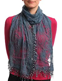 Midnight Blue Vintage Lace With Flowers - Blue Designer Scarf