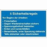 Hinweisschild 5 Sicherheitsregeln, Alu geprägt, Größe 40x25 cm