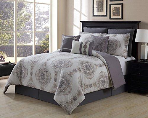 13-teiliges Sloan taupe/grau 100% Baumwolle Bett in einer Tasche w/500TC Baumwolle-Bettlaken-Set, baumwolle, Taupe/Gray/White, Queen (Bett In Einem Beutel-ensembles)