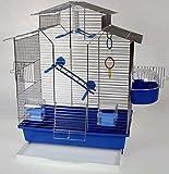 Vogelkäfig,Wellensittichkäfig,Exotenkäfig,60 cm Vogelkäfig Super Trouper Vogelbauer Wellensittich Kanarien Voliere Vogelhaus Käfig IZA 2 II in blau + 3x GRATIS