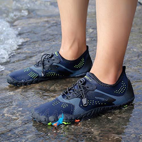 COZOCO Schnelltrocknende Unisex-Wasserschuhe Pool Beach Swim-Schuhe Kordelzug-Schuhe Creek Diving-Schuhe(blau,45 EU)