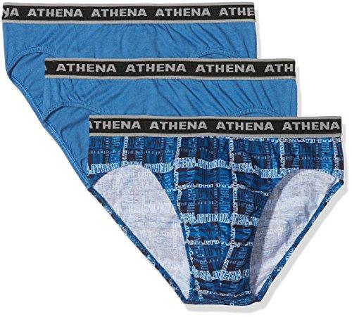 Athena Herren Unterhose Tonic 4er Pack Bleu (IMPRIME Bleu/Bleu/Logo Bleu/Bleu 0670)