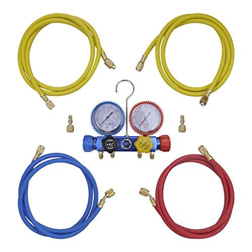 vidaXL Monteurhilfe 4-Wege mit 4 Schläuchen Klimaanlage R134 R410a R22 R407c -