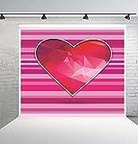 BuEnn 6x6ft Rosa Gestreifte Rote Liebe Valentinstag Fotografie Hintergrund Geburtstagsfeier für Mädchen Baby Shower Hochzeit Dessert Tischdeko Stand - 2