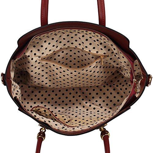 LeahWard® Damen Groß nett Schultertaschen Tote Handtaschen 149 Burgundy Taschen
