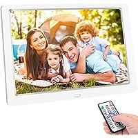 TENSWALL 10 Zoll Digitaler Bilderrahmen 1280x800 hochauflösendes IPS-Display Foto/Musik/Video-Player Kalender Wecker automatischer EIN/aus Timer, unterstützt USB-und SD-Karte, Fernbedienung (Weiß)