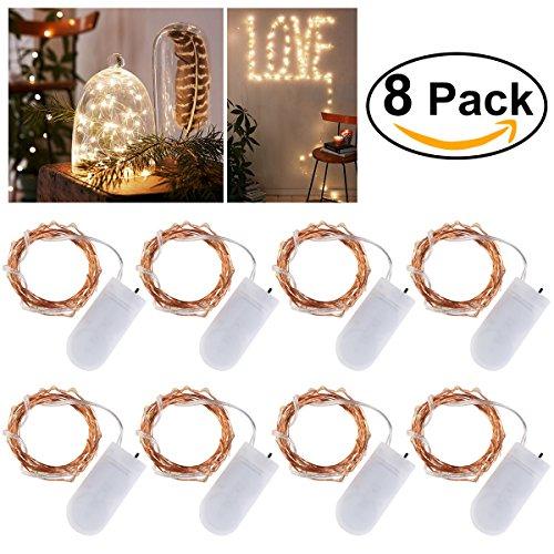 LEDMOMO 8 Pezzi Luci LED Natale 2 Metro Stringa Luci LED Filo Di Rame Luci Per Addobbi Natalizi,Bianco Caldo