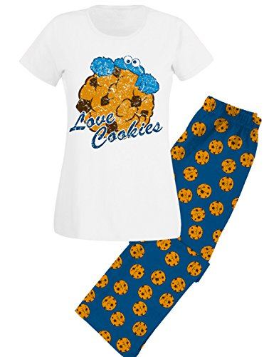 monster Schlafanzug Pyjama Love Cookies, Blau, S ()