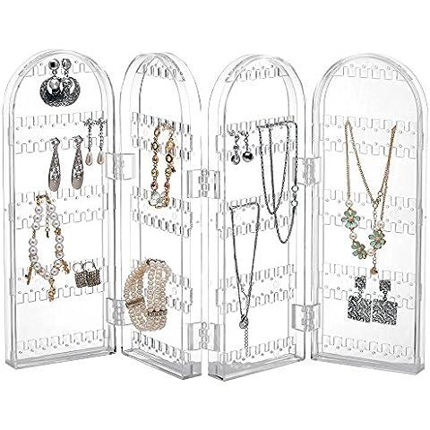 Beautify Organizer in acrilico trasparente a sé stante per gioielli orecchini