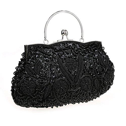 Perlen Abendtasche-clutch (HONGCI Elegant Retro Perlen Damen & Ladies Clutch Bag, Abendtasche \ Clutch Evening Bag \ Bridal Bag \ Wedding Clutch Tasche Handtasche (Schwarz))
