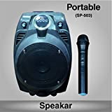 Portable Speaker With 1 Wireless Microphone ,Music System Set / FM Radio / USB / Audio Input / Rechargeable Battery