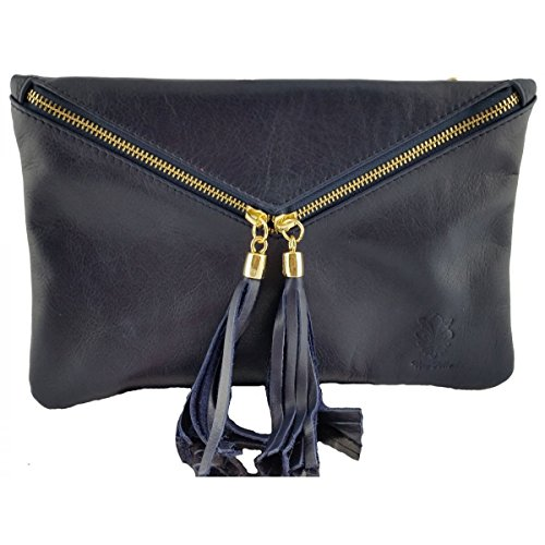 Pochette In Pelle Colore Blu - Pelletteria Toscana Made In Italy - Borsa Donna