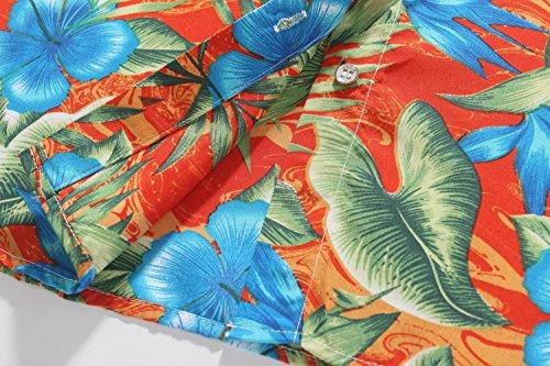 SSLR Donna Camicia Blusa Button Down Stile Tropicale Hawaiana Aloha Stampato Floreale Arancione