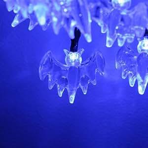 20er blaue Lichterkette Fledermaus für Halloween, batteriebetrieben