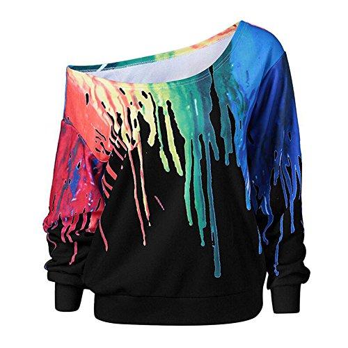 Meijunter Mädchen Frau Handgemalt Fledermaus Ärmel Trägerlos T-shirt Dünn Pullover Sweatshirt Beiläufig Tops Bluse (Geldbeutel Känguru-tasche)