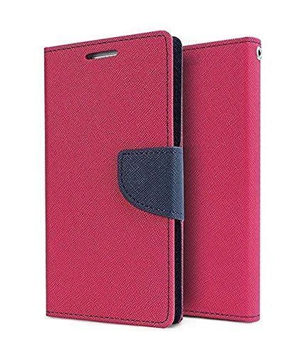 Finaux Luxury Mercury Magnetic Lock Diary Wallet Style Flip Cover Case for Samsung Galaxy On 5 Pro - Pink