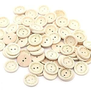 Sanwood 50 x, a forma di cuore con bottoni a 2 fori in legno DIY Scrapbook