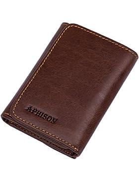 APHISONUK RFID Billetera de bloqueo suave de cuero genuino cartera para hombres de viaje Tri-fold Secure monedero...