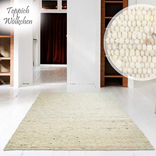 Handweb-Teppich | Reine Schur-Wolle im Skandinavischen Design | Wohnzimmer Esszimmer Schlafzimmer Flur Läufer | Sand - 130 x 190 cm