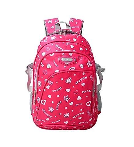 FAIRY COUPLE Mittelschule Student Mädchen Rucksack Schultasche Schultertasche sehr solide in mehrerer Farben C5224 (rosa)