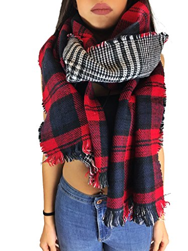 Worldclassca XXL DAMEN WINTER SCHAL 190x75 DICK STRICKSCHAL KARO HALSTUCH SCARF PONCHO CAPE WARM NEU WINTERSCHAL HERBSTSCHAL DECKENSCHAL WEICH (Rot-Schwarz-Weiss (Cape Rot Schwarz)