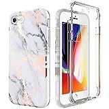SURITCH Coque iPhone 7/8 Silicone 360 Degrés Protection Rose Gold Marbre Souple Integrale Antichoc...