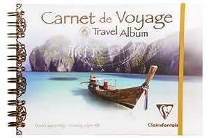 Clairefontaine 96777C - Album de Voyage Couverture Transparente en Polypropylène Rigide 30 feuilles - 14,85 x 21cm Papier Blanc 180g - Bateau