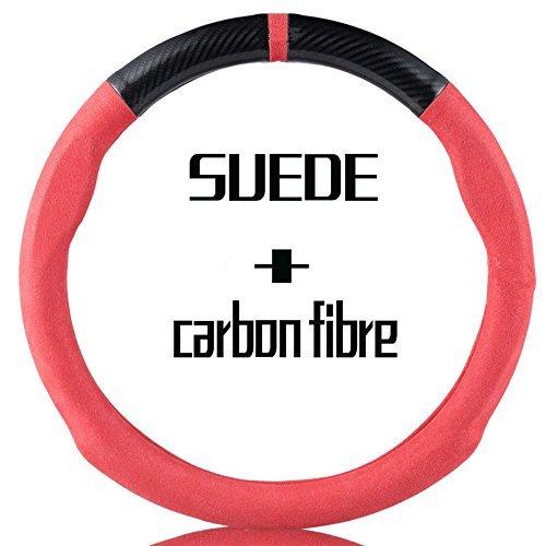 Premium de fibra de carbono volante de ante Custom Covers personalidad antideslizante Auto coche de agarre 15inch
