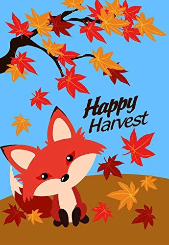 Laterne Hill Cute Happy Harvest Fox in Falling Leaves Herbst Garten Flagge; Doppelseitig; 31,8x 45,7cm; Fall Seasonal Deko Banner -
