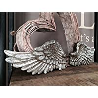 Homes on Trend Pair of Angel Wings Wall Art Decor White Decorations Wall Mounted Ornament Gold Silver Cream Hanging for Home Baby Shower Bedroom Baptism Wedding Vintage Shabby Chic