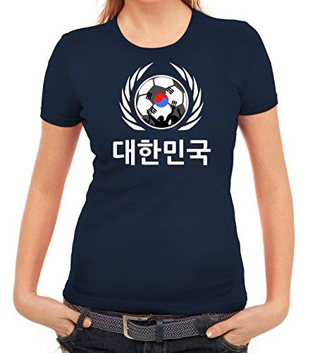 ShirtStreet World Cup Wappen Soccer Fussball WM Fanfest Gruppen Fan Wappen Damen T-Shirt Fußball Korea Dunkelblau