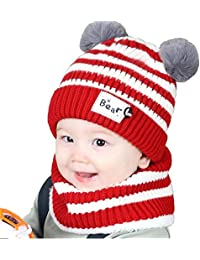 Ziory 2Pcs Red Winter Bear Kids (1-2 yr) Baby Hats Lovely Infant Toddler  Girl Boy Beanie Cap Warm Baby Hat+ Knitted… abcad7ab116b